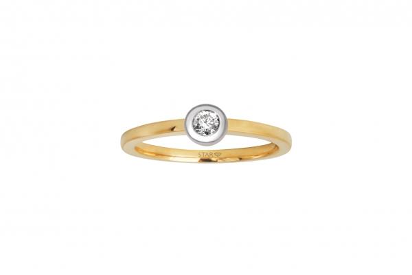 Damenring Gelb/Weissgold 585/- 0,10ct